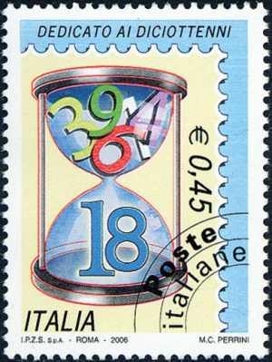 Francobolli dedicati ai diciottenni ed alle diciottenni - azzurro