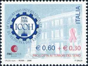 28° Congresso Internazionale di Medicina del Lavoro - Sovrattassa a favore della lotta ai tumori del seno - Logo e Clinica «Luigi Devoto» di Milano