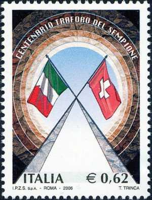 Centenario dell'inaugurazione del Traforo del Sempione - bandiere italiana e svizzera