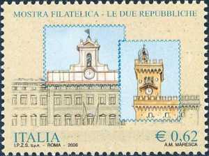 Idem -francobollo precedente con scritte al verso - stampato in foglietto - emissione congiunta con la Repubblica di San Marino