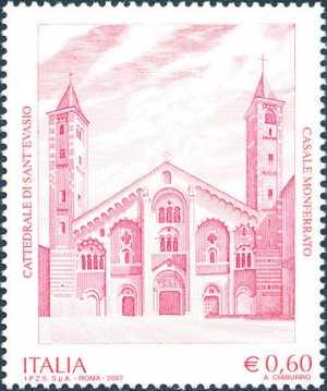 Patrimonio artistico e culturale italiano - Cattedrale di Sant'Evasio - Casale Monferrato ( AL ) - facciata del XII sec.