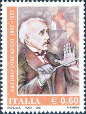 Cinquantenario della morte di Arturo Toscanini - ritratto del compositore e direttore d'orchestra