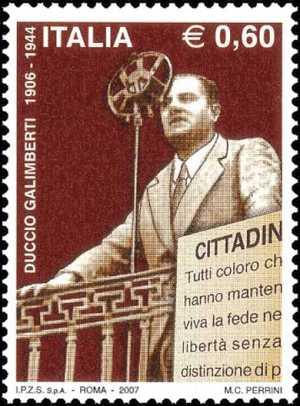 Centenario della nascita di Duccio Galimberti - comandante partigiano della Resistenza - ritratto durante un discorso a Cuneo