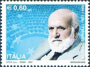 Centenario della nascita di Altiero Spinelli - politico e scrittore - ritratto