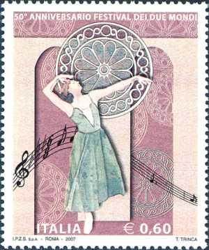 Cinquantenario del Festival dei Due Mondi - danzatrice e rosone del Duomo di Spoleto