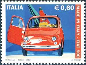 «Made in Italy» - 4ª serie - Cinquantenario della Fiat 500  -«Fiat Nuova 500» dipinto di Antonio Aimone