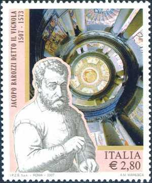 5° Centenario della nascita di Jacopo Barozzi detto il Vignola - ritratto dell'architetto  e Scala Regia del Palazzo Farnese di Caprarola