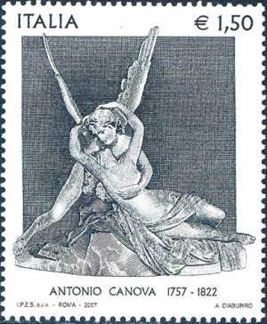 250° Anniversario della nascita di Antonio Canova - scultore - «Amore e Psiche che si abbracciano»