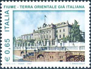 Omaggio alla città di Fiume quale «Terra orientale già italiana»  - facciata del Palazzo del Governatore