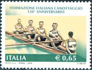 Lo sport italiano - 120° Anniversario della Federazione Italiana Canottaggio - imbarcazione di fine '800
