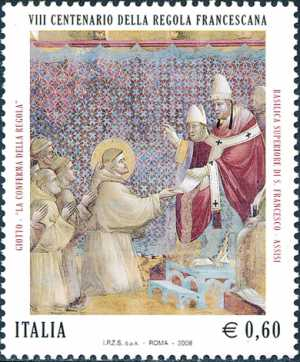 8° Centenario della Regola Francescana - Affreschi della Basilica Superiore di San Francesco di Assisi - «La conferma della Regola» di Giotto
