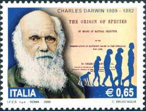 2° Centenario della nascita di Charles Darwin - naturalista - Ritratto e frontespizio della sua opera «L'origine delle specie»
