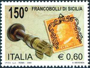 150° Anniversario dei primi francobolli di Sicilia - Mezzo grano di Sicilia e timbro con annullo a ferro di cavallo