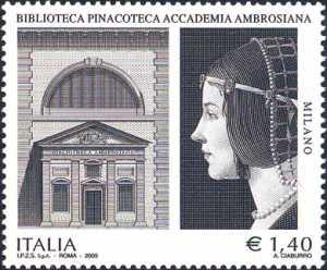 Biblioteca Pinacoteca Accademia Ambrosiana - Facciata della pinacoteca e «Ritratto di dama» di Giovanni Ambrogio de Predis