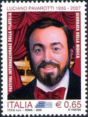 Festival Internazionale della filatelia « Italia 2009» - Giornata della Musica - Luciano Pavarotti