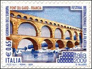 Festival Internazionale della filatelia « Italia 2009» - Giornata dell'Europa - Pont du Gard, Francia