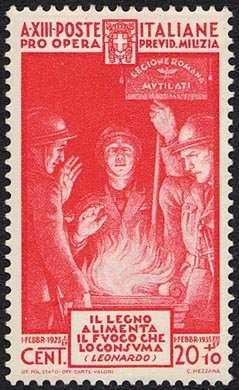 1935 - Pro Opera di Previdenza M.V.S.N. - 4ª emissione - Giuramento dei legionari