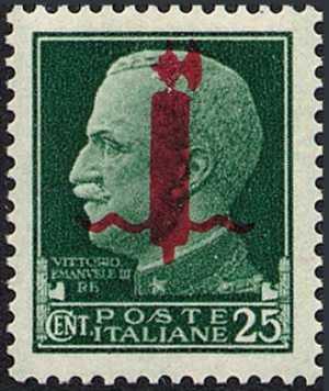1944 - Repubblica Sociale Italiana - Francobollo del 1929 della serie «imperiale» soprastampato con solo fascio
