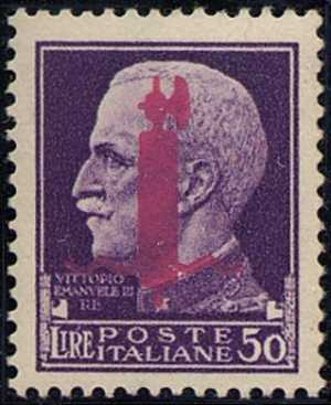 1944 - Repubblica Sociale Italiana - francobollo del 1929 con soprastampa fascio - emissione di Firenze