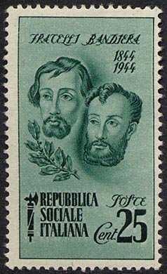 1944 - Repubblica Sociale Italiana - Centenario della Morte dei Fratelli Bandiera