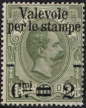 1890 - Francobolli del 1884 per pacchi postali sovrastampati con nuovo valore, per le stampe