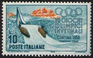 """VII Giochi Olimpici Invernali a Cortina - trampolino """"Italia"""""""
