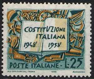 Decennale della Costituzione Italiana - L. 25