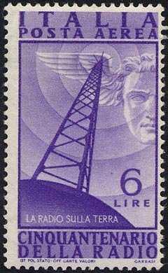 Posta aerea   - Cinquantenario della invenzione della Radio