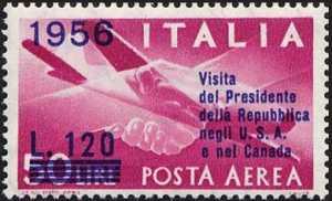 Posta aerea - Visita del presidente della repubblica negli U.S.A. e nel Canada