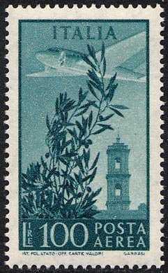 Posta aerea - Torre del Campidoglio - tipo precedente su carta fluorescente