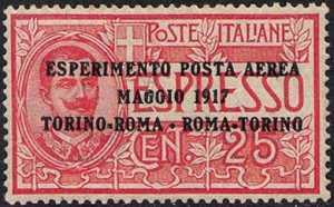 Esperimento di Posta aerea - Espresso del 1903 sovrastampato