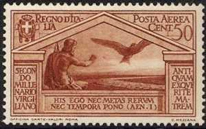 Posta aerea - Bimillenario della nascita di Virgilio - Giove e aquila su strada consolare