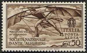 Posta aerea - Pro Società Nazionale «Dante Alighieri» - Macchina volante disegnata da Leonardo da Vinci
