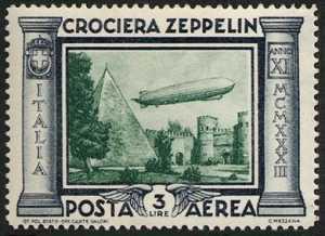 Posta Aerea - Crociera in Italia del dirigibile Graf Zeppelin - Porta San Paolo e piramide di Caio Cestio