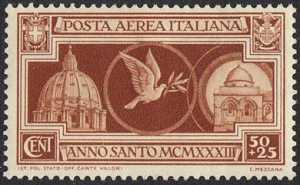 Posta aerea - Anno Santo 1933-34 - sovrapprezzo a favore del Santo Sepolcro