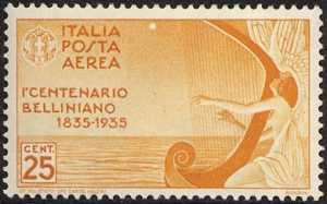 Posta aerea - 1° Centenario della morte di Vincenzo Bellini