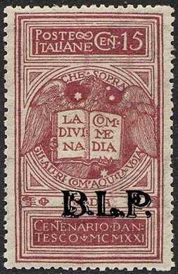 1922 - B.L.P. - Regno - VI° Centenario della morte di Dante Alighieri - francobolli del Regno  con soprastampa - non emessi