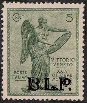 1922 - B.L.P. - Regno - Anniversario della Vittoria - francobolli del Regno  con soprastampa - non emessi