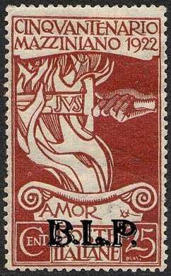 1922 - B.L.P. - Regno - Cinquantenario della morte di Giuseppe Mazzini - francobolli del Regno  con soprastampa - non emessi