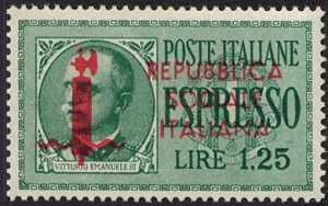 1944 - R.S.I. - Espressi - tipi del 1932-33 soprastampati