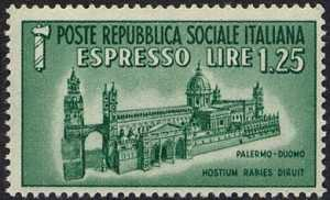 1944 - R.S.I. - Espresso - Monumenti distrutti - Duomo di Palermo