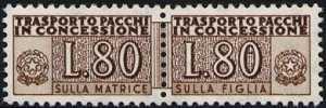 1960 - Pacchi in Concessione - Repubblica - cifra a destra e a sinistra - filigrana stelle - nuovi valori e nuovi colori