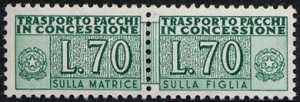 1966 - Pacchi in Concessione - Repubblica - cifra a destra e a sinistra -  nuovi valori