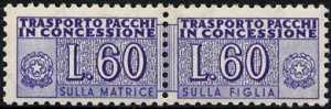 1958 - Pacchi in Concessione - Repubblica - cifra a destra e a sinistra - filigrana stelle - nuovi valori