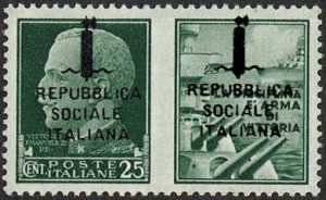 1944    -    Francobolli di Propaganda di Guerra  R.S.I. -   sovrastampati a destra e a sinistra - emissione di Firenze