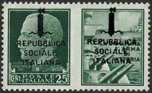 1944    -    Francobolli di Propaganda di Guerra  R.S.I. -   sovrastampati a destra e a sinistra - emissione di Verona