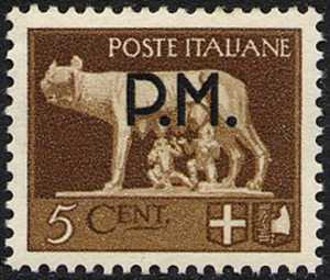 1943 - Posta Militare - francobolli della serie «imperiale» soprastampati  P.M.