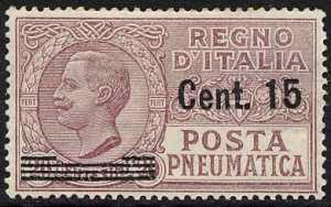 1927 - Posta Pneumatica - Regno - francobolli del 1925  soprastampati