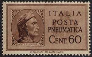1945  - Posta Pneumatica - Luogotenenza -  tipi del 1933 - stemma reale senza fasci - Dante Alighieri