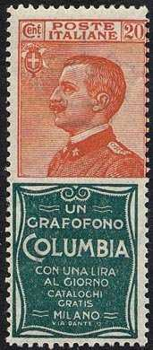 1925 - Francobolli pubblicitari - Regno - francobollo  ed espresso del 1925 con appendice pubblicitaria - non emessi